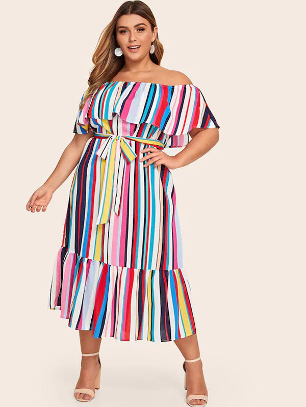 Plus Size Off Shoulder Flounce Hem Striped Belted Dress
