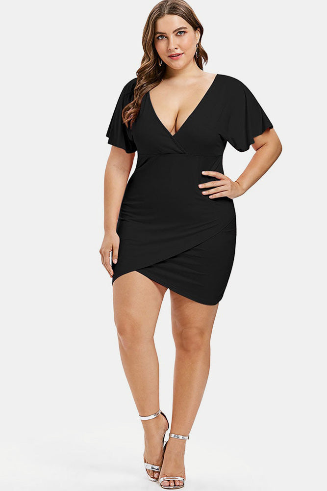 Plus Size Pink Sexy V Neck Bodycon Mini Short Dress
