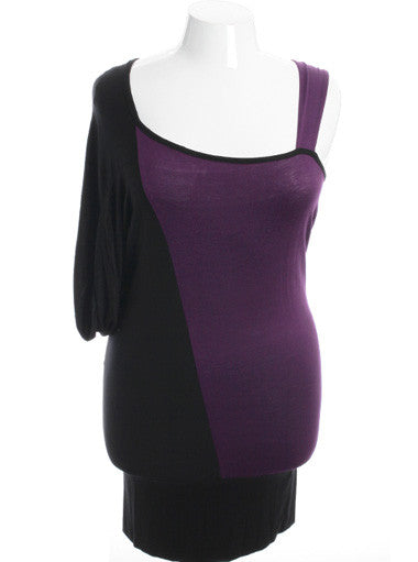 Plus Size Trendy Abstract Purple Dress