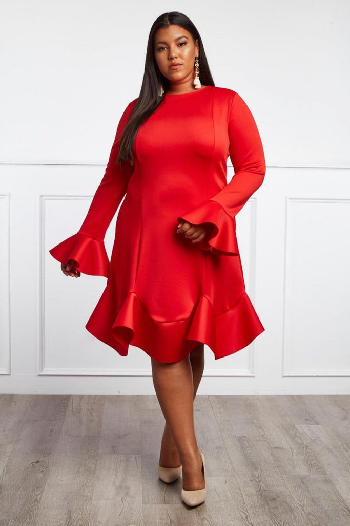 Plus Size Glam Chic Ruffle Midi Dress