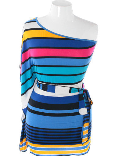 Plus Size Colorful Stripe One Shoulder Blue Dress