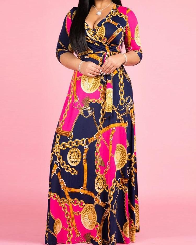 Plus Size Chain Printed V-Neck Maxi Dress