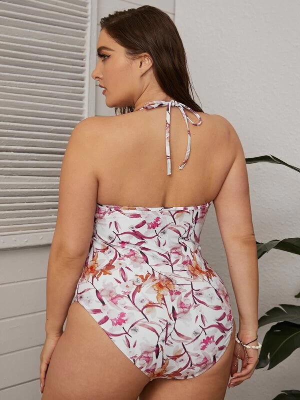 Plus Size Floral Print Contrast Mesh Halter One Piece Swimwear