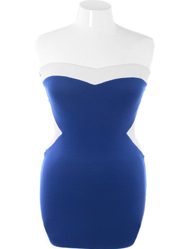Plus Size Adorable Peep Show Blue Tube Dress