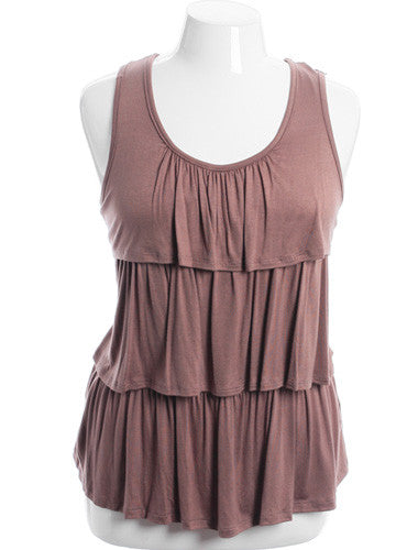 Plus Size Layered Ruffle Lace Back Tan Tank
