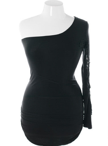 Plus Size One Shoulder Hot Sleeve Black Dress