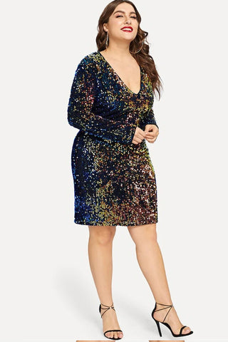 Plus Size Limelight Vivid V-Neck Luminous Sequin Dress