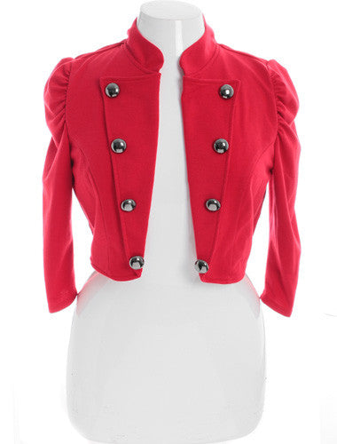 Plus Size Designer Cadet Button Red Jacket