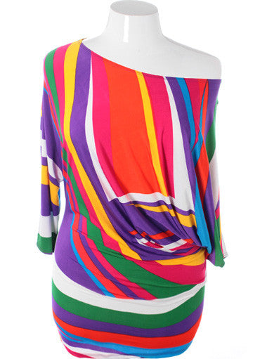 Plus Size Sexy Abstract Bright Mini Dress