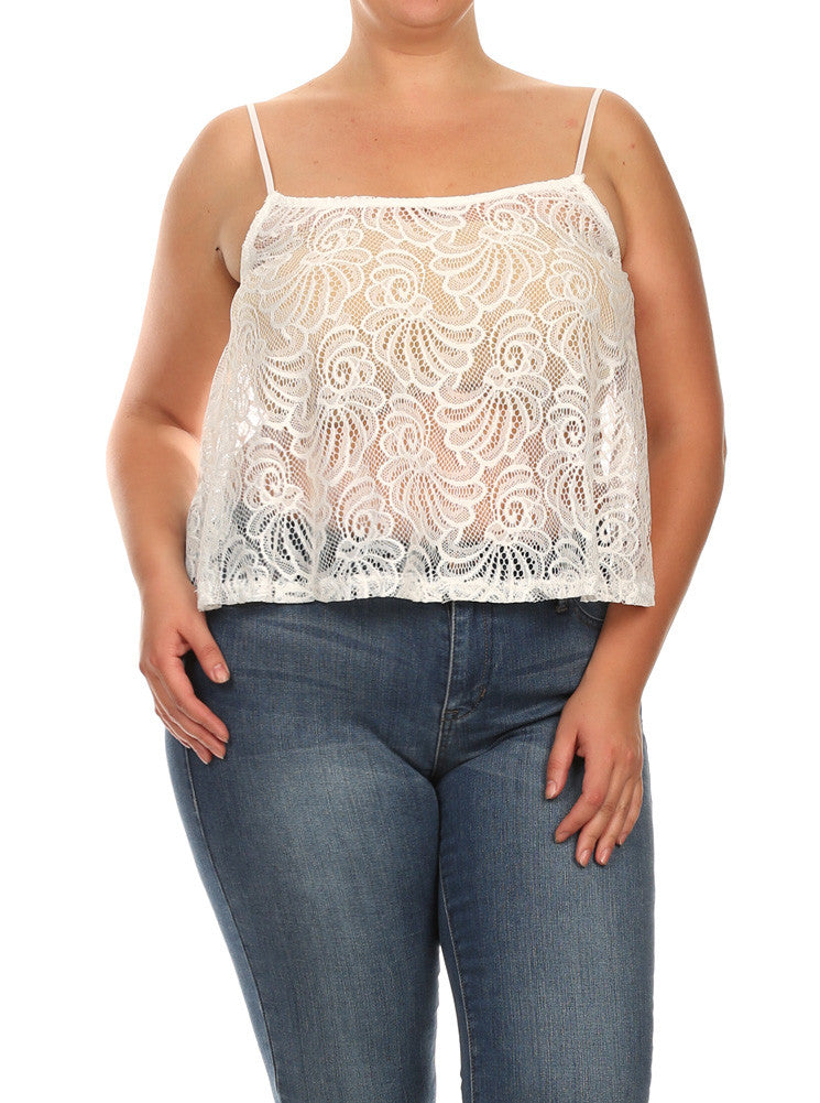 Plus Size See Through Lace Butterfly Back White Cami