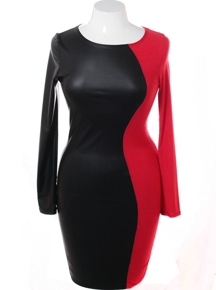 Plus Size Split Leather Red Midi Dress