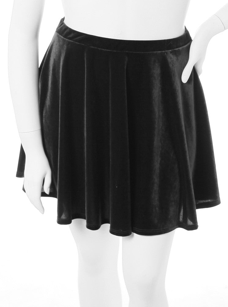 Plus Size Designer Velvet Black Skirt