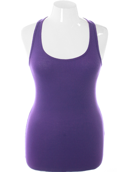 Plus Size Classic Spring Purple Tank Top