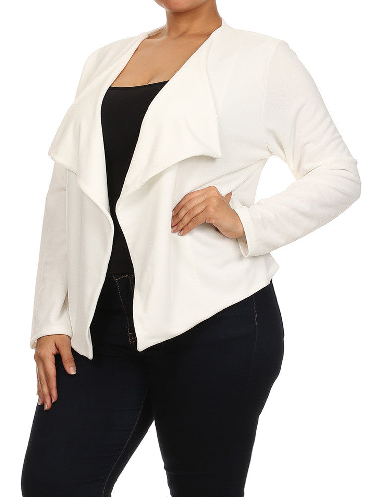 Plus Size Fashionista Drapey Open Front White Jacket