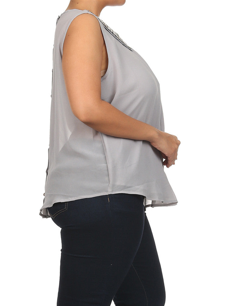 Plus Size Mod Embellished Neckline Sheer Grey Top