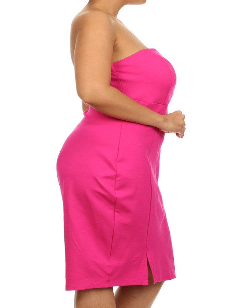 Plus Size Love Spell Plunging Neckline Pink Dress