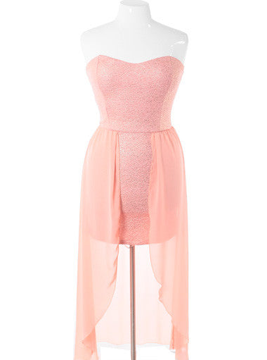 Plus Size Sparkling Flake Dip Hem Pink Dress