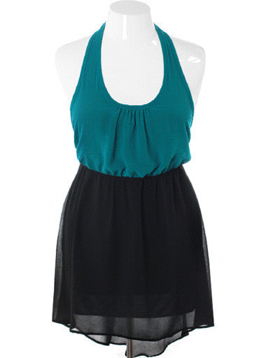 Plus Size Halter Bubble Top Teal Dress
