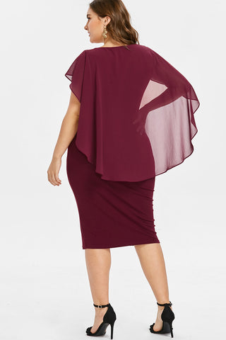 Plus Size Rhinestone Embellished Capelet Cocktail Dress