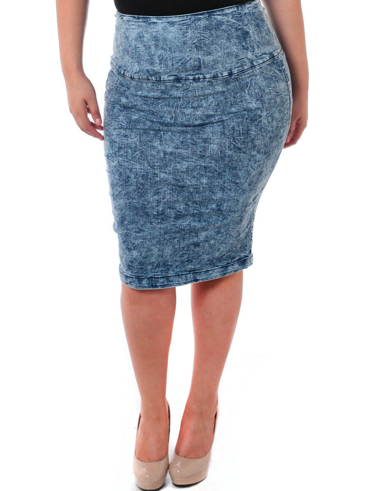 Plus Size Acid Wash Denim Midi Skirt