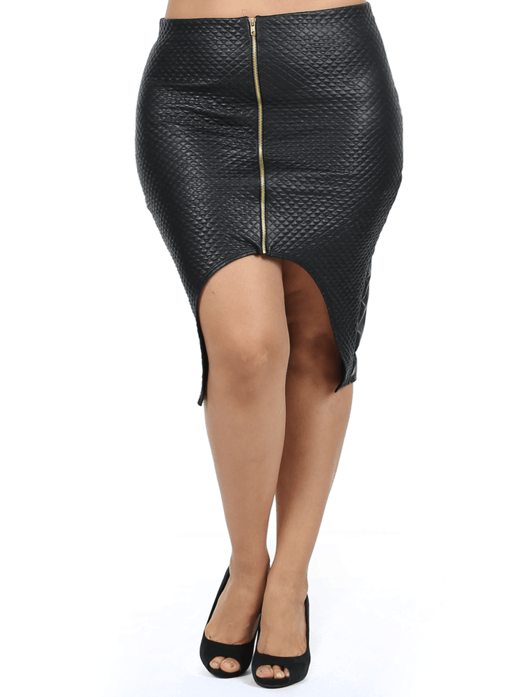 Plus Size Quilted Small Diamond Pattern Cut Out Leather Skirt