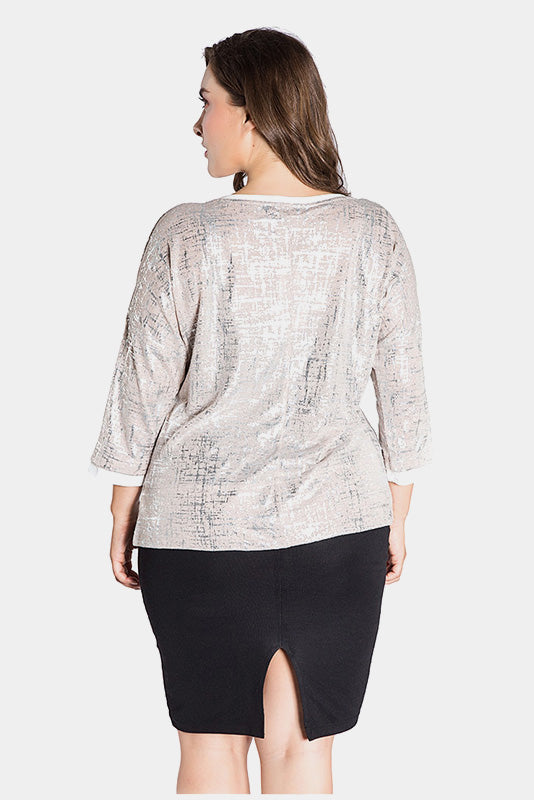 Plus Size All Eyes On You Metallic Print Top