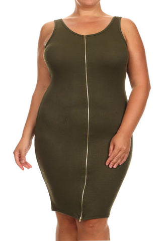 Plus Size With It Front Zipper Olive Midi Dress
