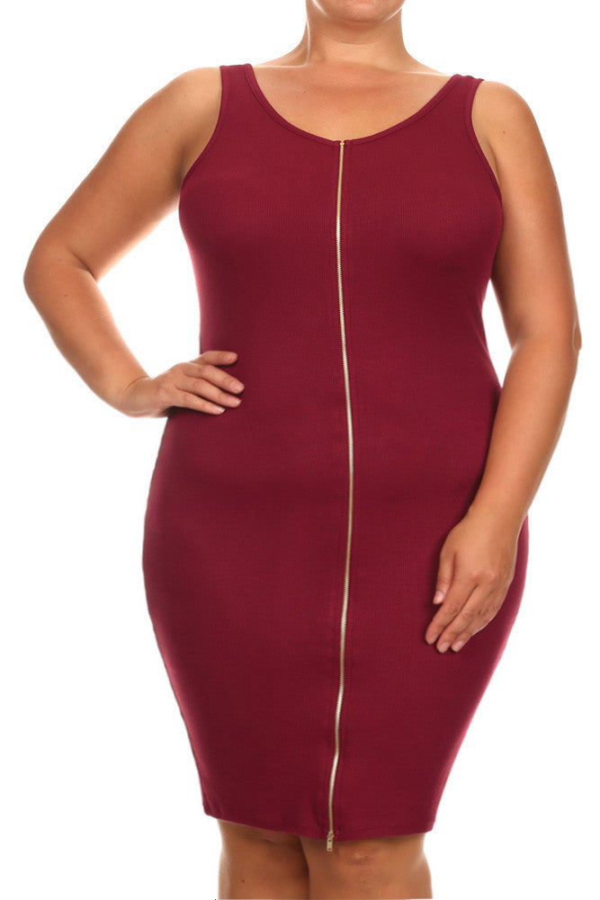 Plus Size With It Front Zipper Burgundy Midi Dress