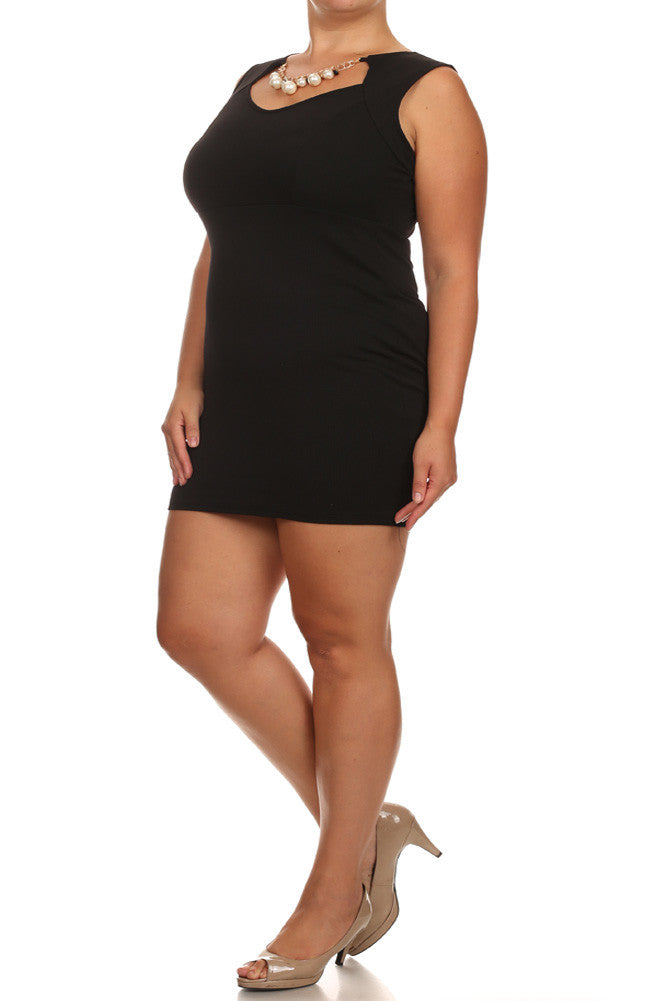 Plus Size Pearl Princess Cut Out Black Dress