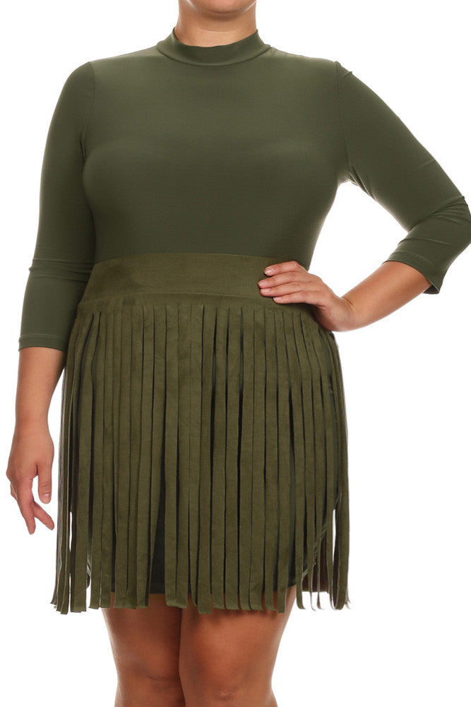 Plus Size Suede Fringe Skirt Burgundy Dress