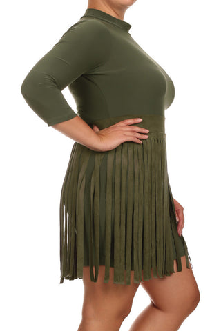 Plus Size Suede Fringe Skirt Olive Dress