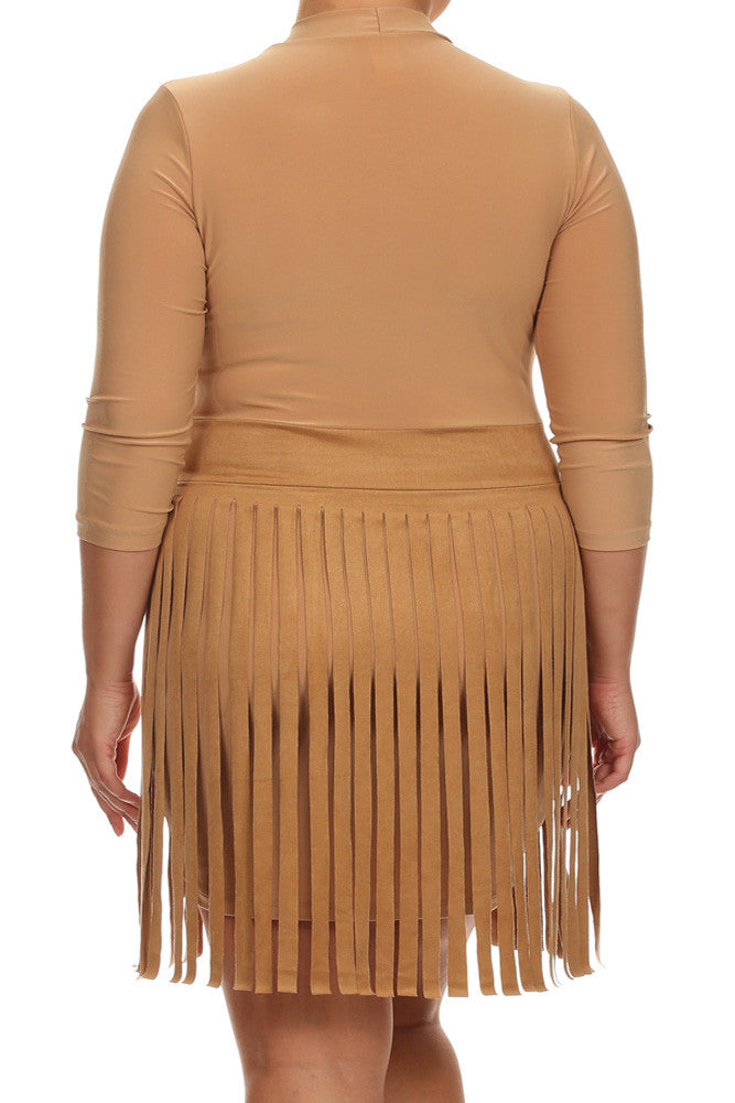 Plus Size Suede Fringe Skirt Tan Dress