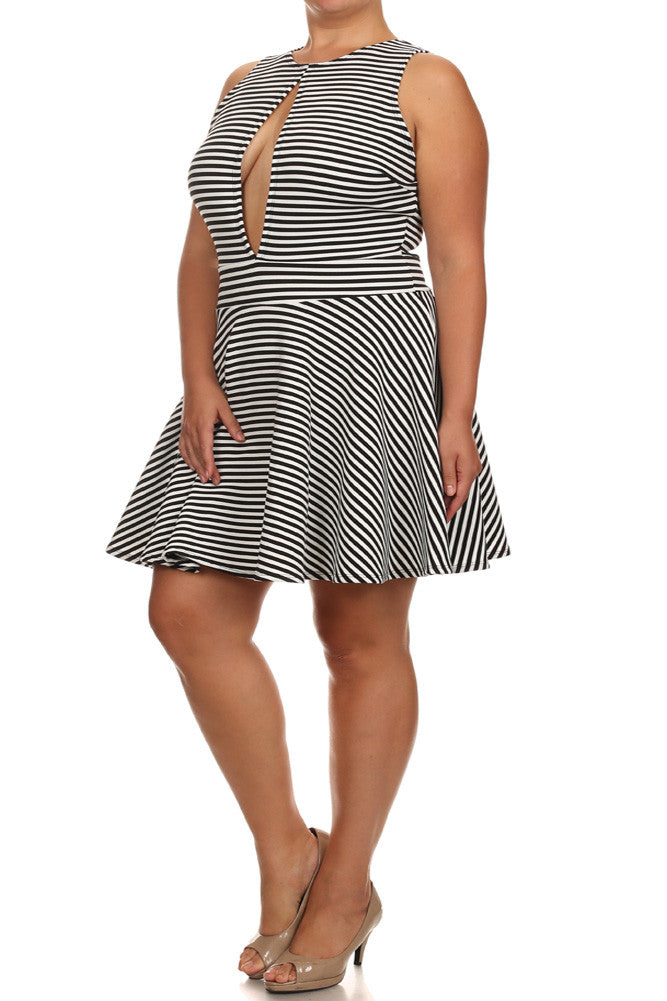 Plus Size Let's Party Striped Skater Dress