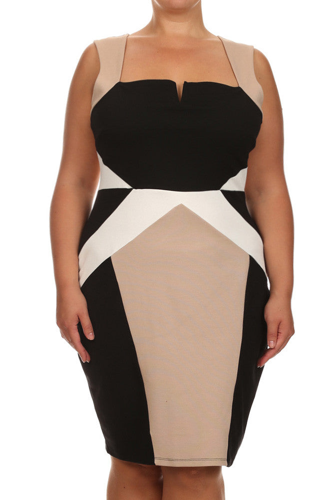Plus Size Dashing Color Block Tan Dress