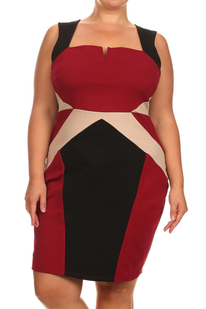 Plus Size Dashing Color Block Burgundy Dress