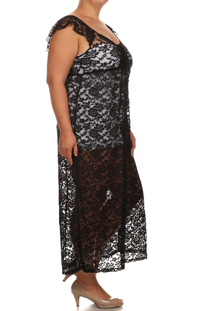 Plus Size Romance Lace Overlay Maxi Dress