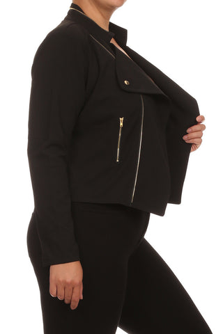 Plus Size Chic Night Rider Black Jacket