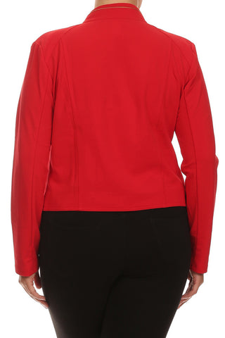 Plus Size Chic Night Rider Red Jacket