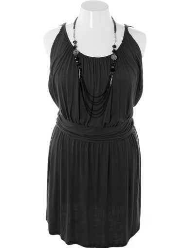 Plus Size Captivating Necklace Tank Black Dress