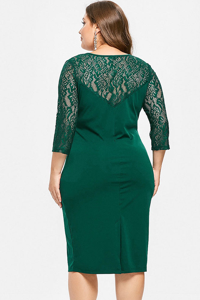 Plus Size Elegant Colorblock Lace Sleeve 3/4 Sleeve Dress