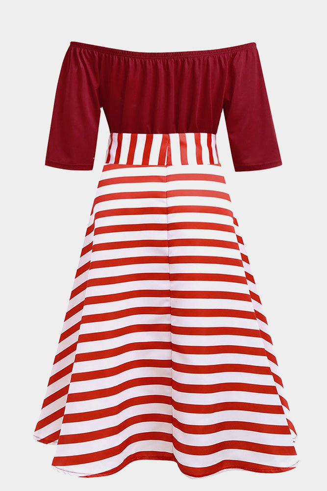 Plus Size Sweetheart Stripe Bow Skater Dress