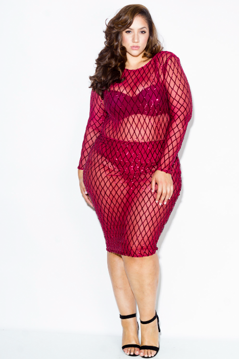 Plus Size Diamond Sparkling Sequin Dress Plussizefix