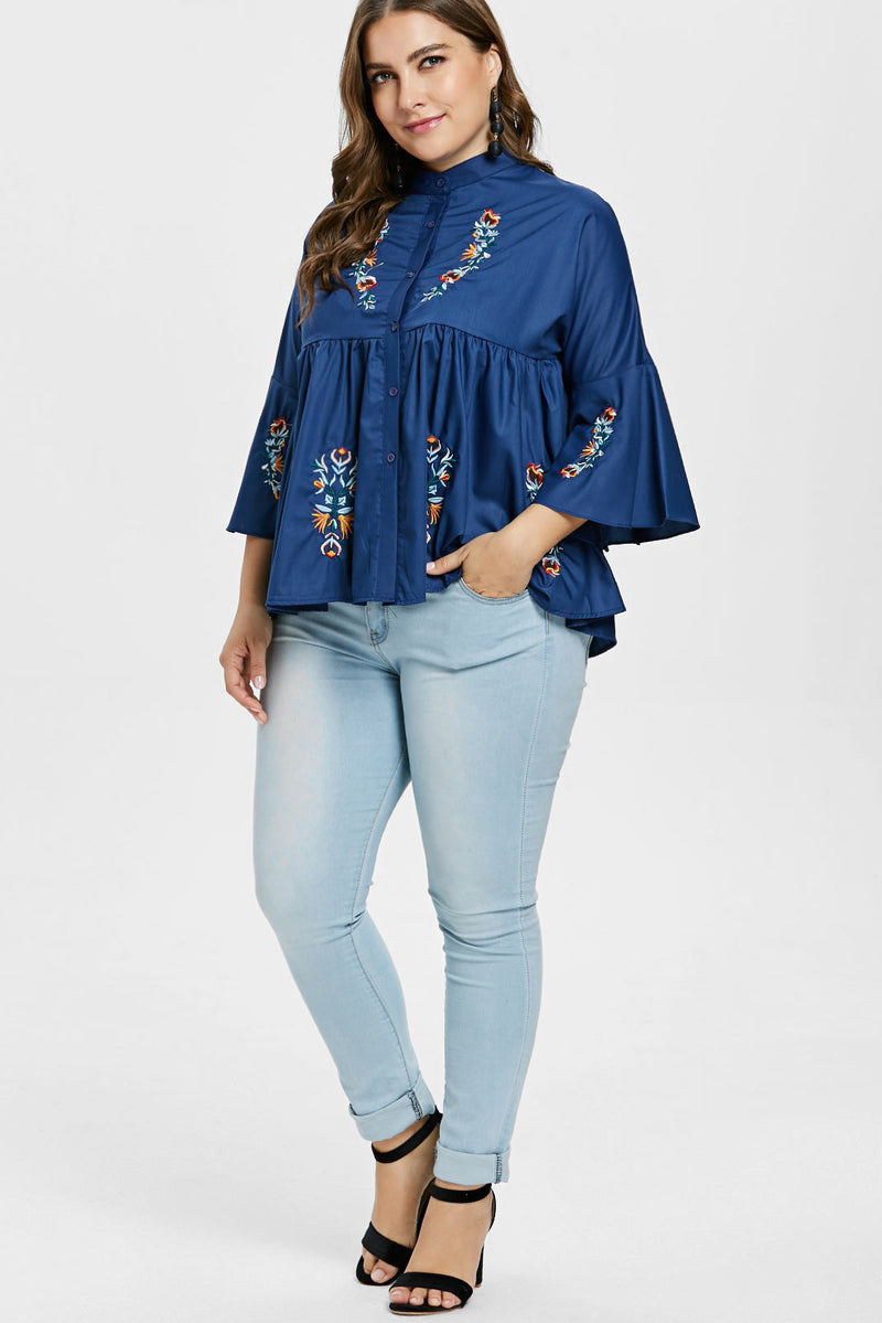 Plus Size Floral Embroidered Denim Flare Top