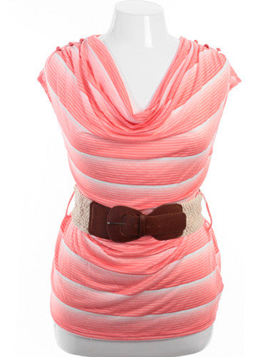 Plus Size Belted Drape Neck White And Peach Striped Top