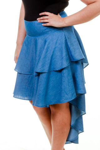 Plus Size High Low Ruffled Skirt