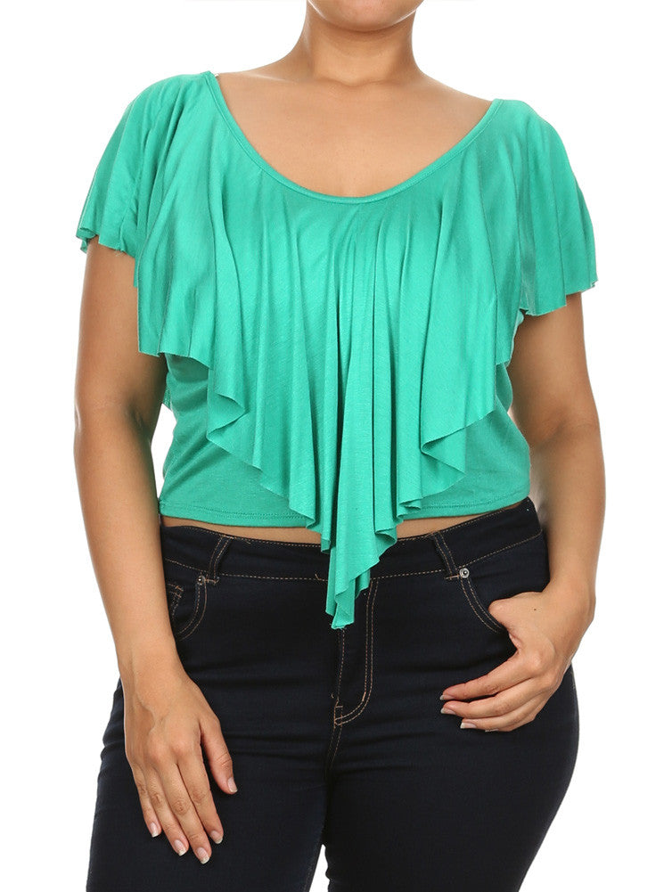 Plus Size Eye Magnet Green Crop Top