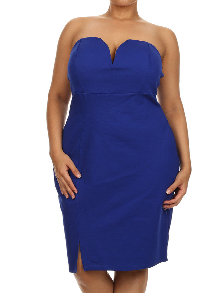 Plus Size Love Spell Plunging Neckline Blue Dress
