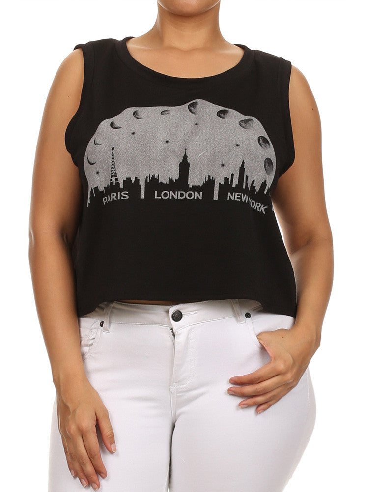 Plus Size Let's Travel The World Black Tank