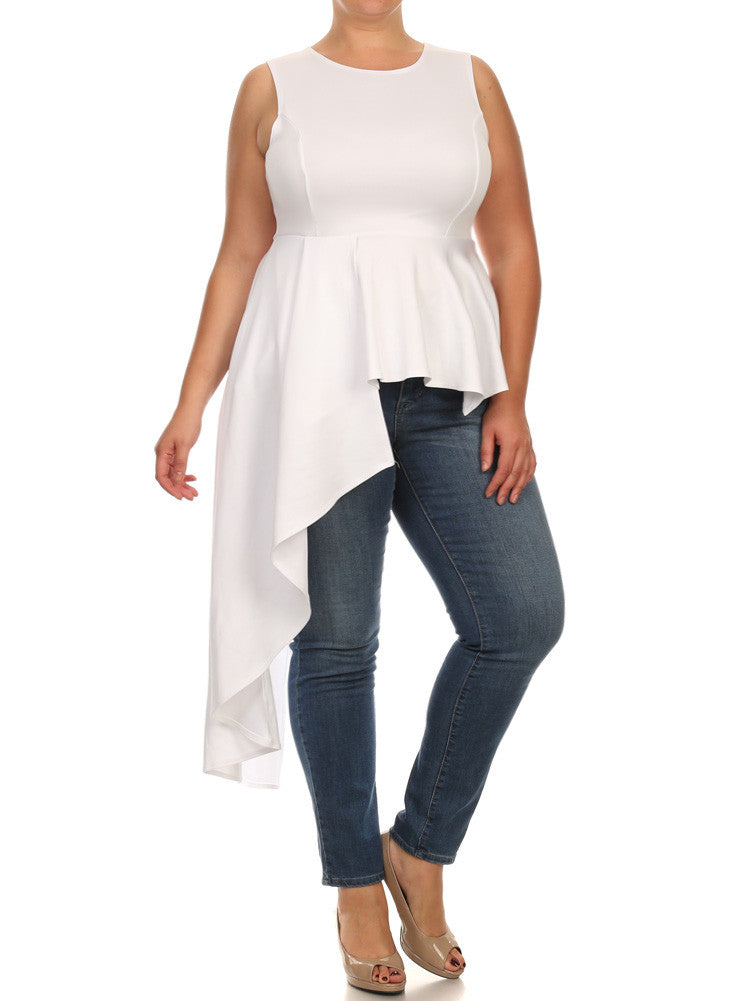 Plus Size Gala Asymmetrical White Maxi Shirt Dress