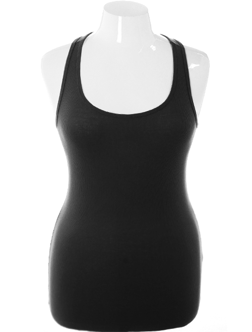Plus Size Sexy Lace Back Black Tank Top